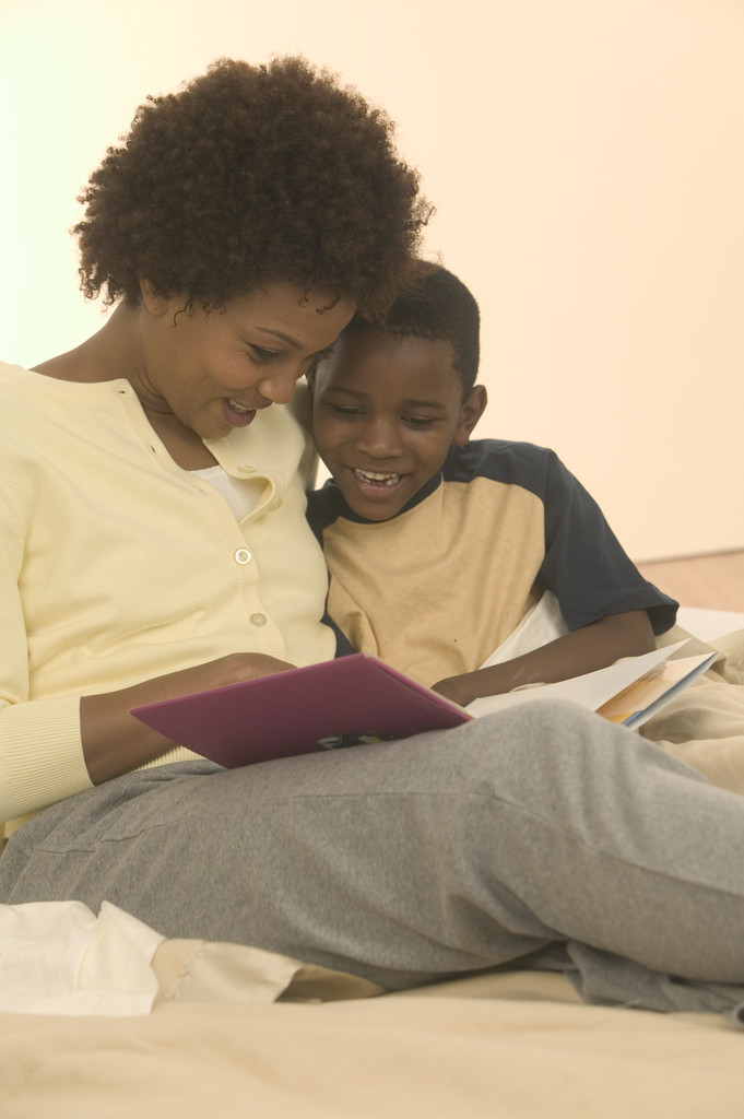 Mother Reading to Son
