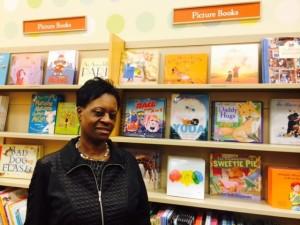 Katheryn and Little Melba (top shelf) at Barnes & Noble in Emeryville, CA (Dec. 2014)
