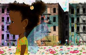 Illustration of African-American girl walking
