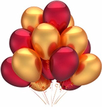 Gold and red balloons